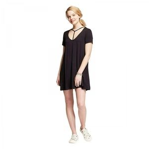 NWT Mossimo Neck Detail T-Shirt Dress XS Black